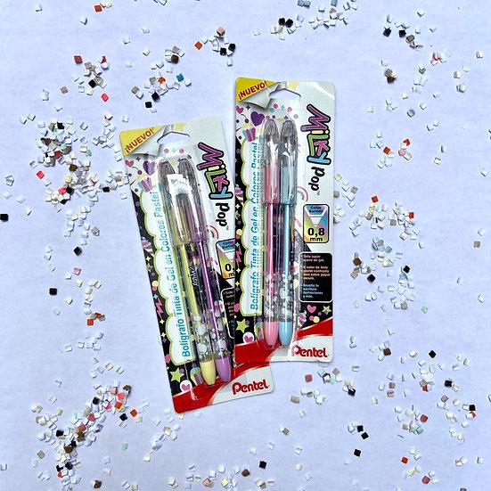 Pentel Set de 2 Plumas d gel Milky Pop (tinta de color, 0.8 m)