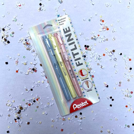 Pentel Resaltadores Fitline Pastel 3 pz