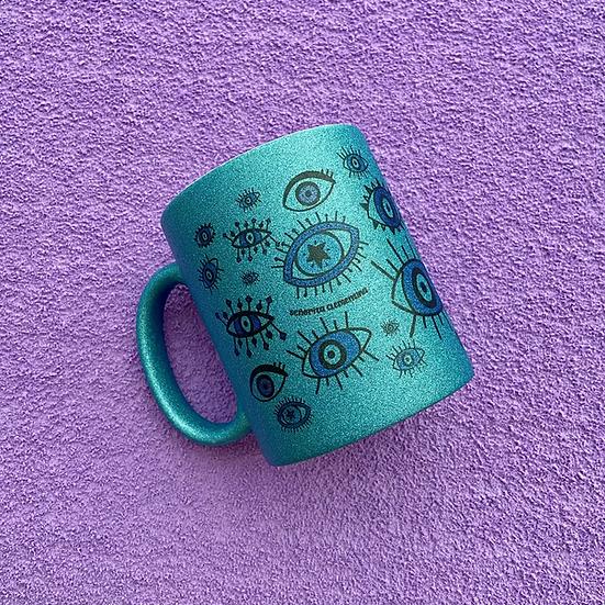 Taza Ojitos Glitter Azul
