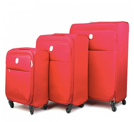 סט מזוודות דלסי צרפת דגם טפלון בצבע אדום
