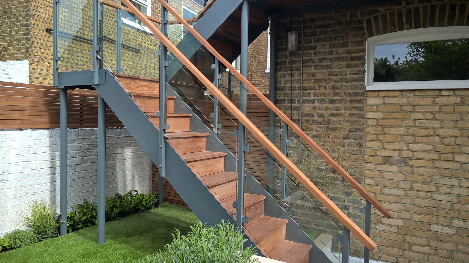Glass / Steel Access Staircase with Hardwood Treads