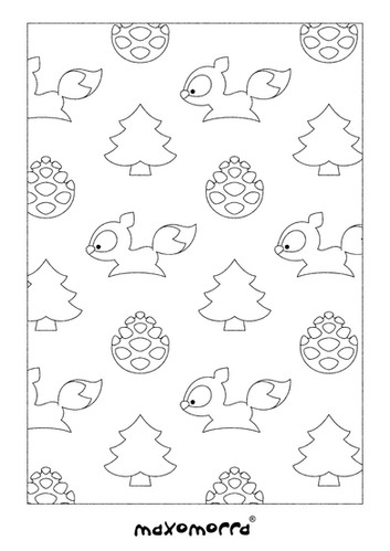 Maxomorra Busy Squirrel Colouring Page