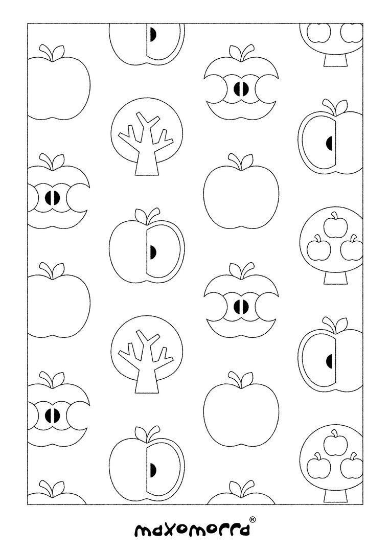 Maxomorra Apple Colouring Page
