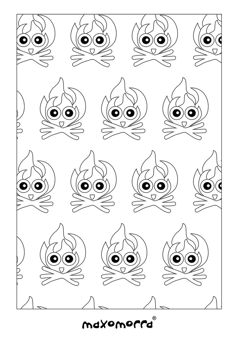 Maxomorra Warming Fire Colouring Page