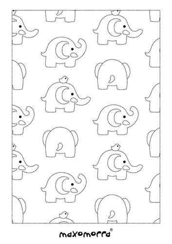 Maxomorra Elephant Friends Colouring Page
