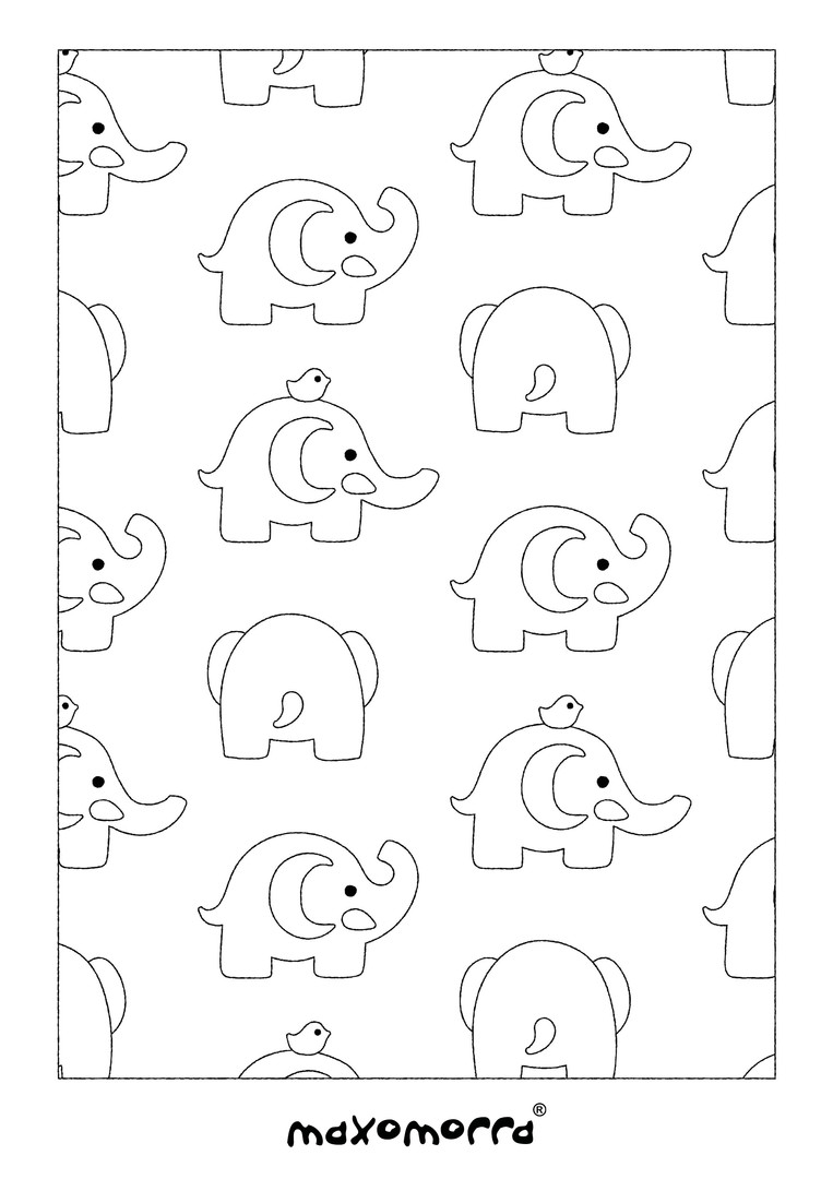 Maxomorra Elephant Friends Colouring Page
