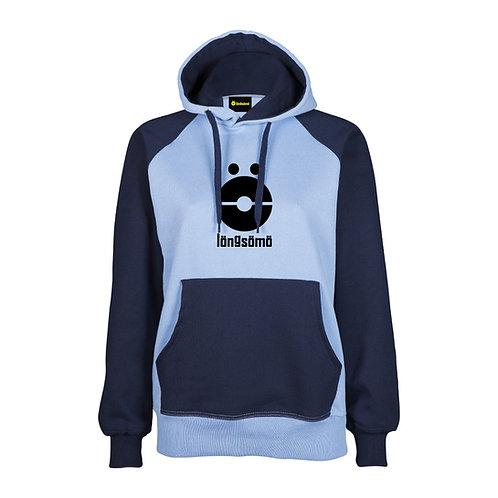 Sudadera Chica LongSomo Bicolor Azul Oscuro/Violeta Logo Vertical