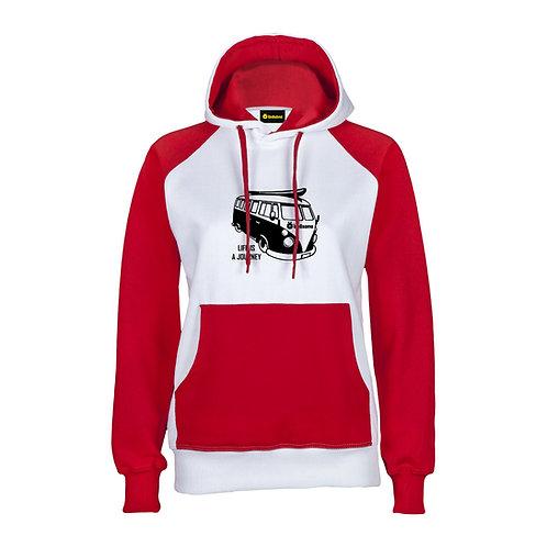 Sudadera Chica LongSomo Bicolor Rojo/Blanco Logo Horizontal