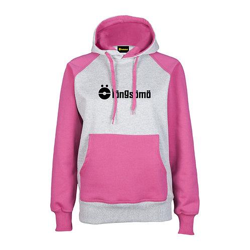Sudadera Chica LongSomo Bicolor Rosa/Gris Claro Logo Horizontal