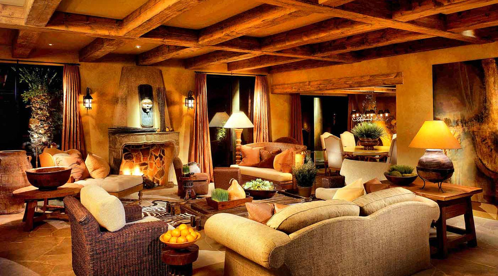 Wood beams & fireplace added for a sense of intimacy