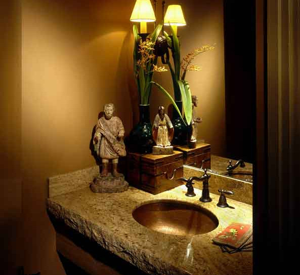 Guest powder room - granite counter & objets d'art