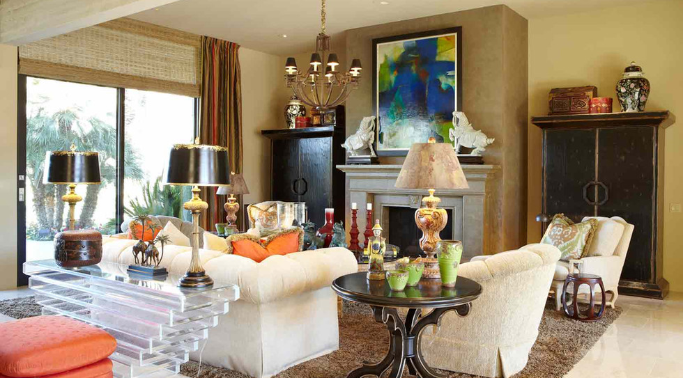 Great room with parrot green, the owner's favorite colorm, as the starting point