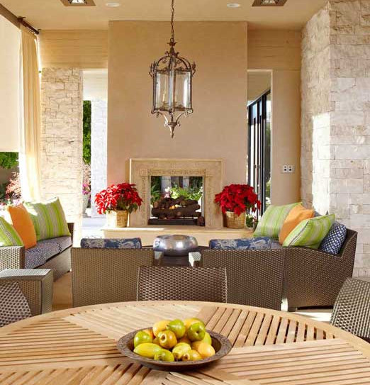 Casual, outdoor dining & entertaining areas with fireplace added