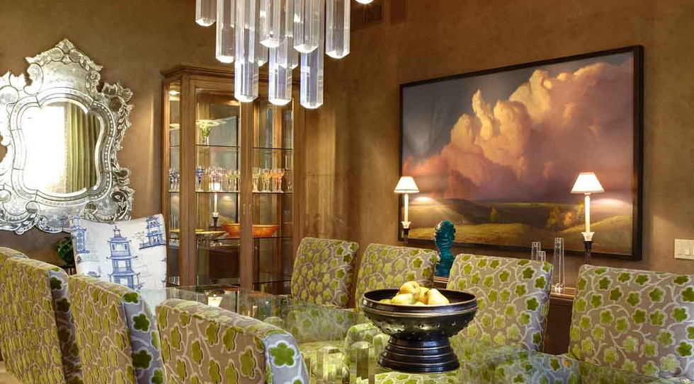 Elegant dining room with Venetian plaster walls