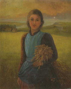 Young farmer in her wheat field