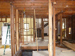Interior of Home being Remodeled Down to the Beams and Posts