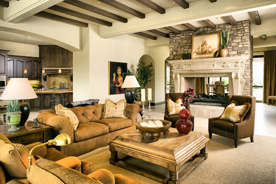Open floor plan with two-sided fireplace