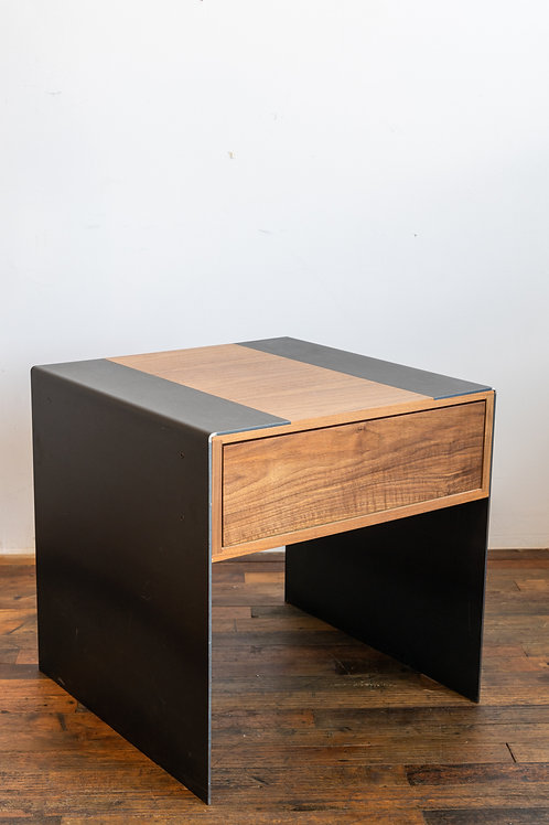 Custom Side Table Walnut w/ Metal Legs