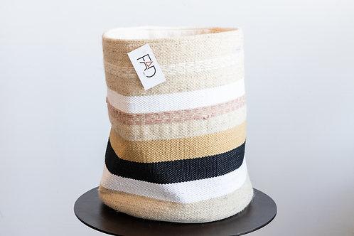 Round Wool & Cotton Woven Basket