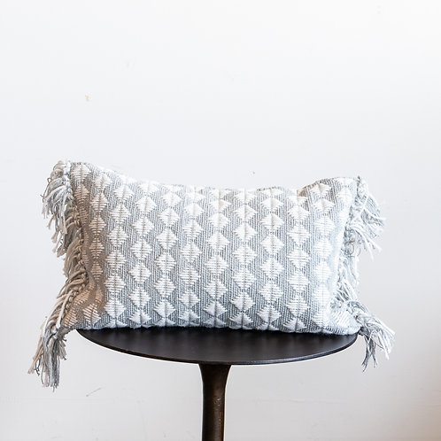 13x21 White & Grey Diamond Pillow