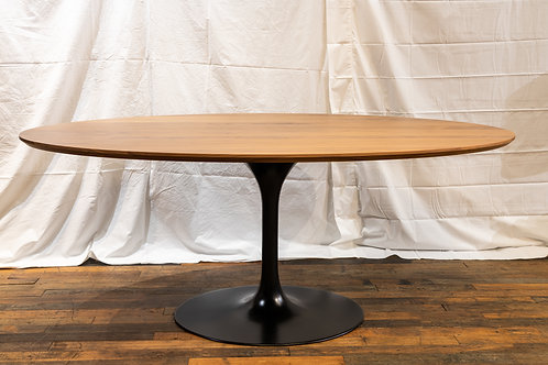 Custom Oval Walnut Table with Black Tulip Base