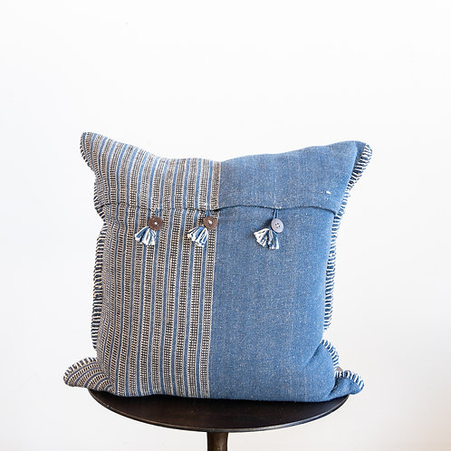 Indigo Pillow w/ Buttons
