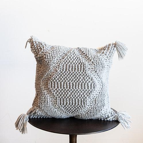 Grey Down Pillow w/ Tassels