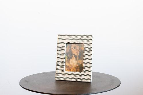 7x9 Stoneware Photo Frame Black & Cream