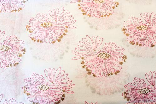 Dahlia Queen Pillow Case in Fuchsia and Gold