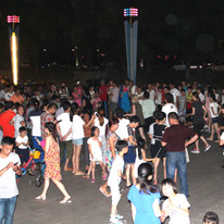 The whole Luqiao community came out to the Plaza to dance.