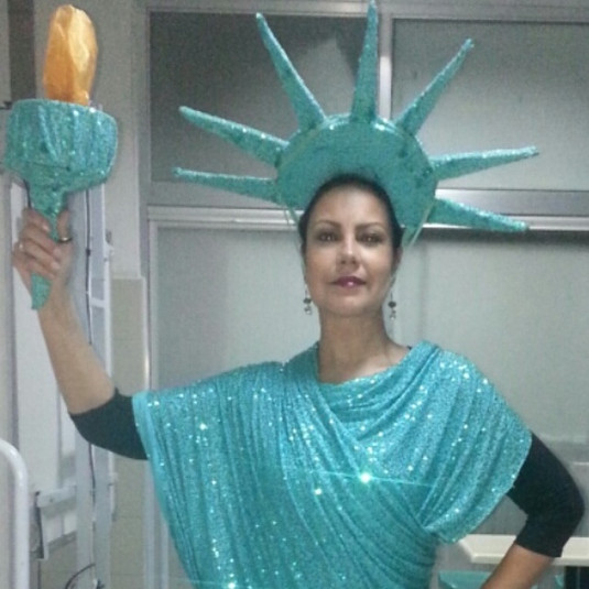 Representing Lady Liberty.  Part of the