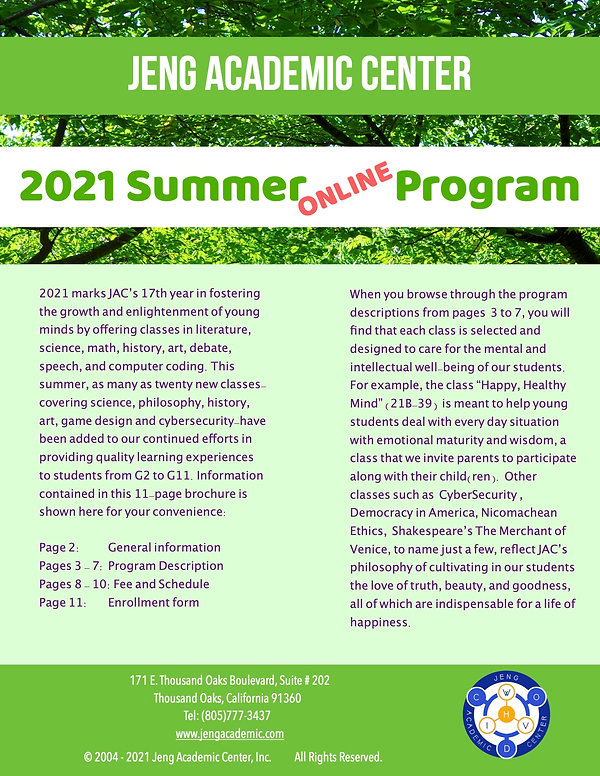 2021 Summer Program Description-Cover PA