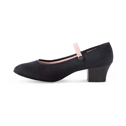 Black Canvas Character Shoes with Cuban Heel