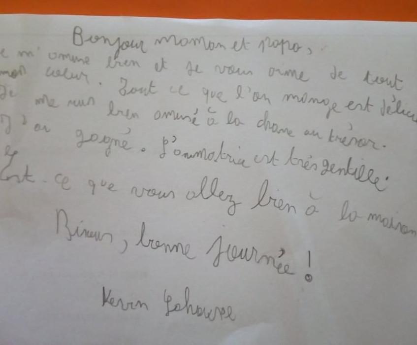 Courrier des élèves de Mme Bérangère classes vertes 2019 de Ste Gertrude de Brugelette à Charneux
