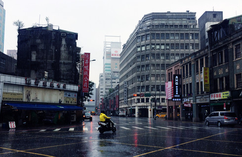 Caught in a Taipei downpour