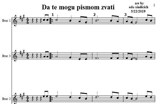 Da Te Mogu Pismom Zvati 8 Parts & Lyrics
