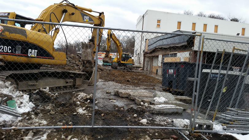 Demolition has begun at Herb Chambers Audi in Brookline.