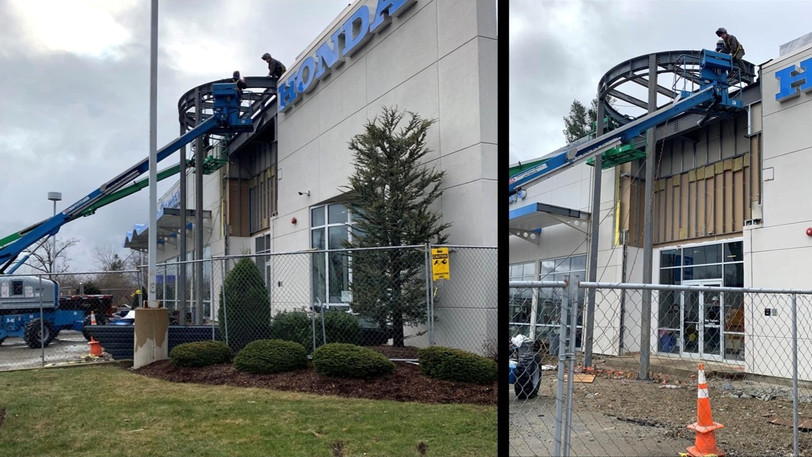 Structural Steel is complete at Honda of Westborough.