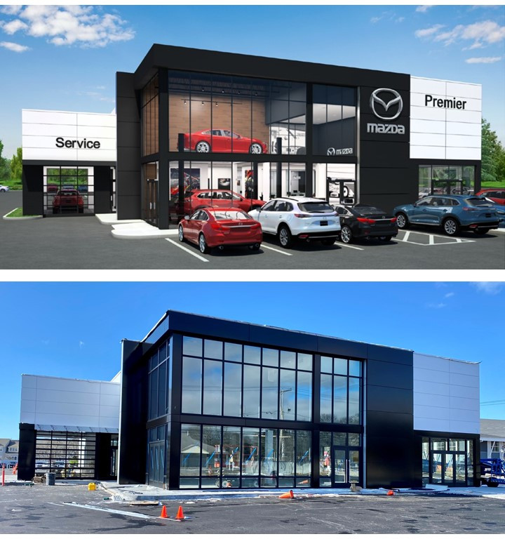 Rendering vs. Progress Shot at Mazda Cape Cod in Hyannis