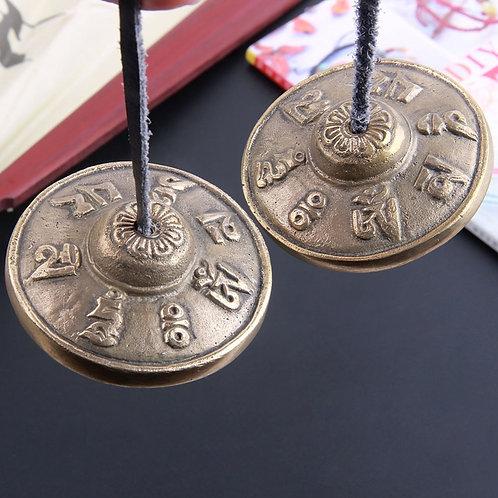 Handcrafted Tibetan Meditation Tingsha Cymbal Bell. Copper