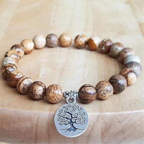 8mm Picture Jasper Gemstone Handmade Mala Bracelet Meditation Retro Prayer