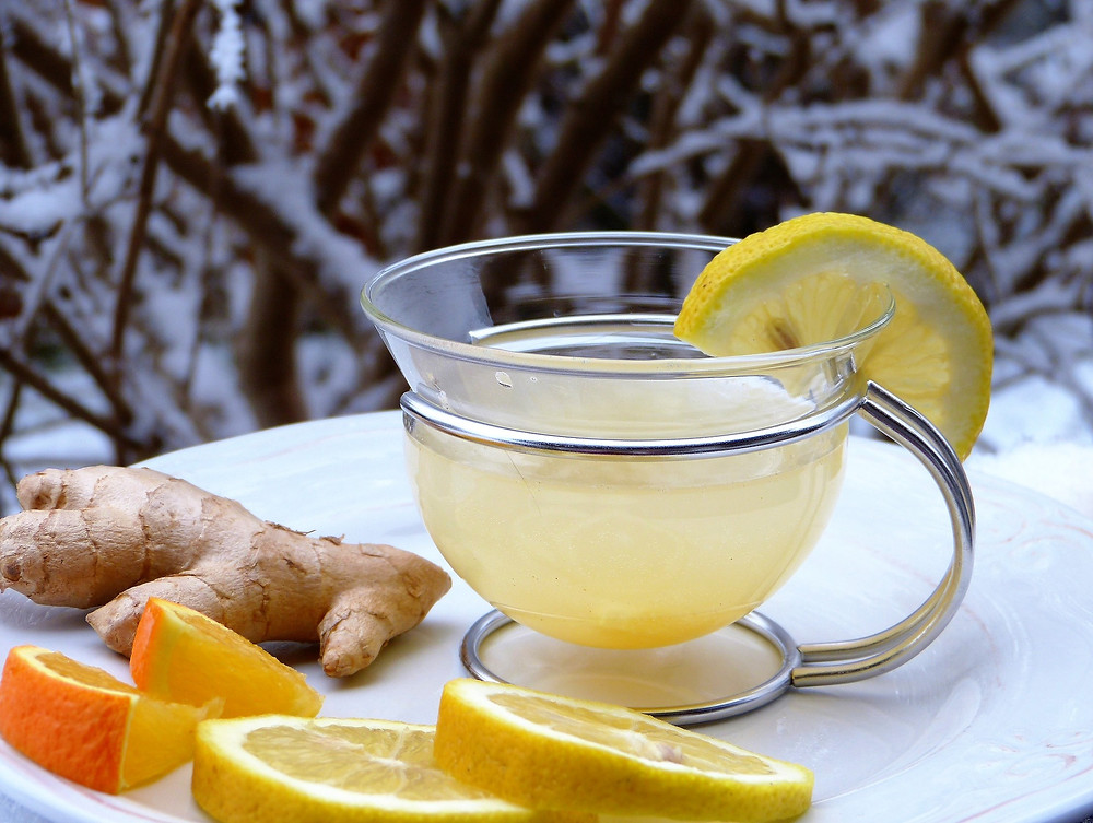 ginger lemon tea in the winter during cold and flu season