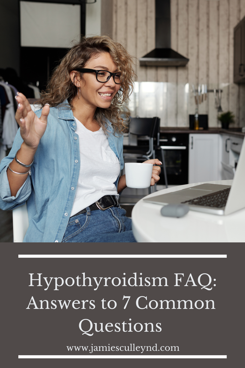 woman on laptop holding cup of coffee hypothyroidism faq answers to common questions