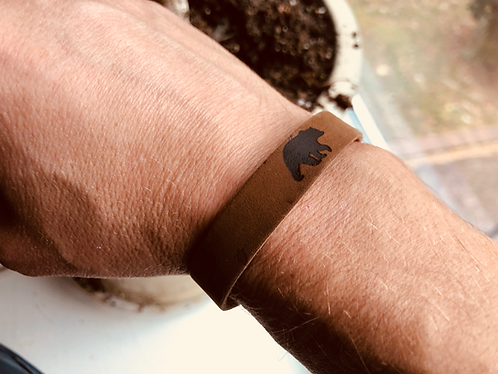 Leather Bear Bracelet