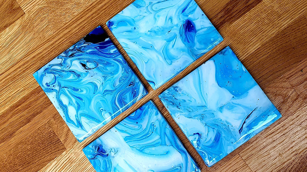 Blue marble effect ceramic coaster