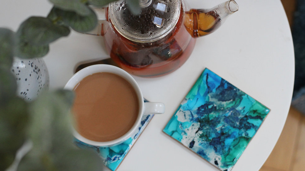 Blue and Green ink ceramic coasters