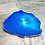 Thumbnail: Blue and silver atoll inspired resin geode coaster with silver edging