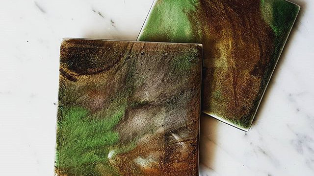Green and bronze ceramic & resin coasters