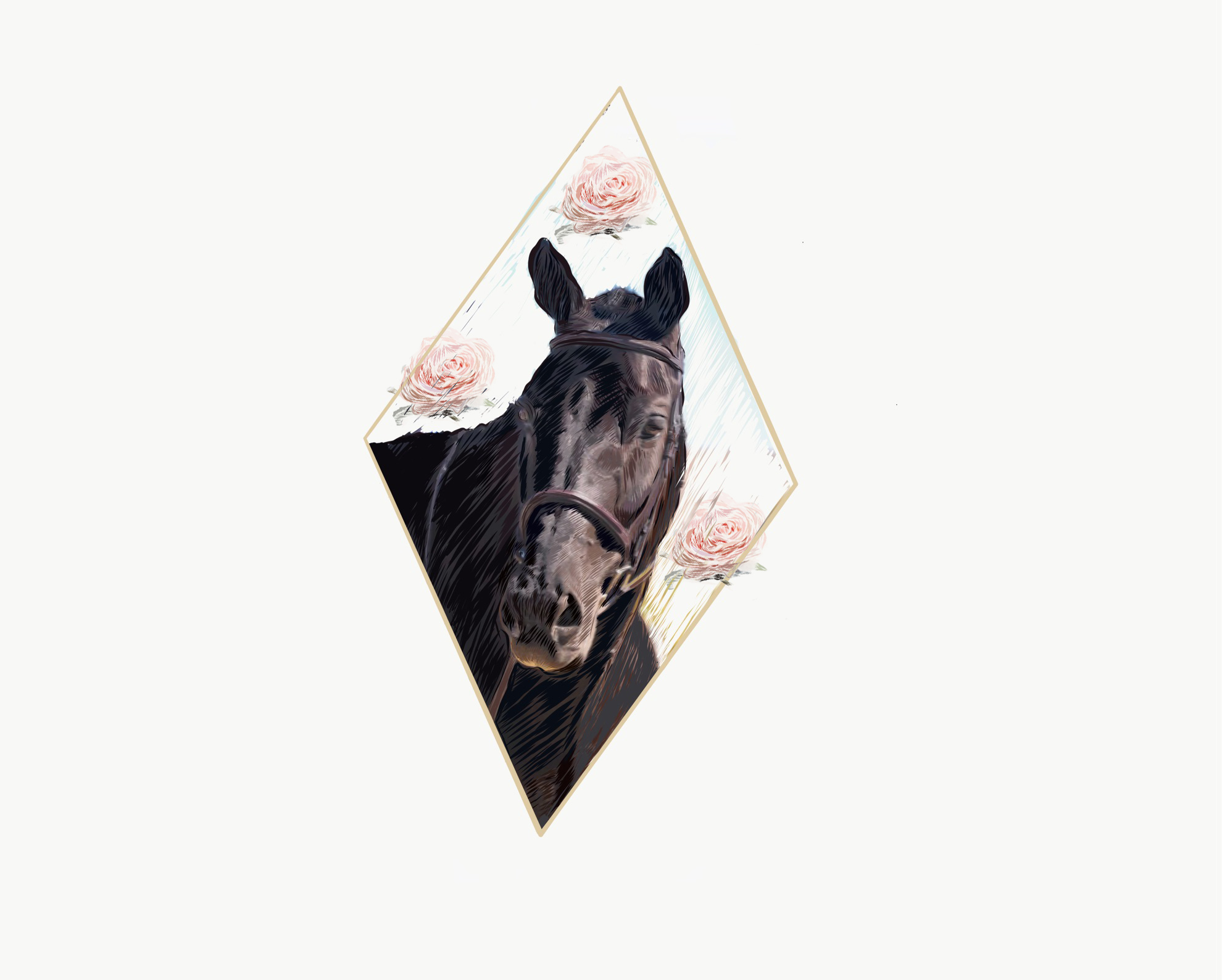 horses with roses