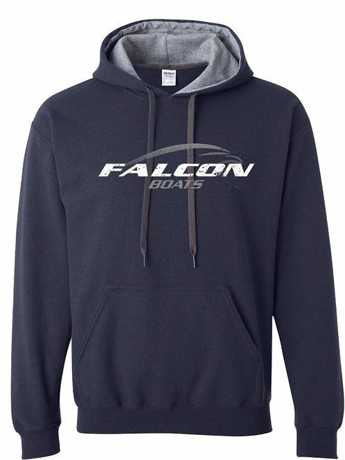 Deluxe Logo Hoodie - Navy and Gray